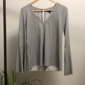 Lucky Brand Bell Sleeves Striped Sand-Washed Top